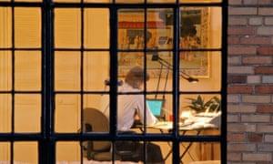 Man at computer at home