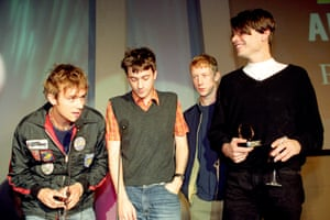 Blur, accept the Q award for best album of 1994 for Parklife: l-r Albarn, Coxon, Rowntree, James.