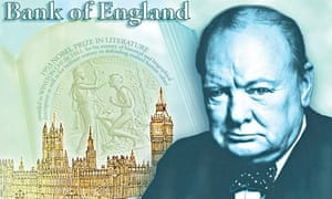 The design for the reverse of the new £5 note, showing Winston Churchill