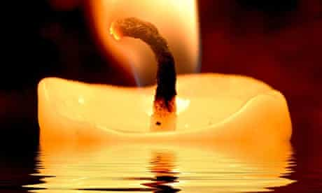 Candle burning in water