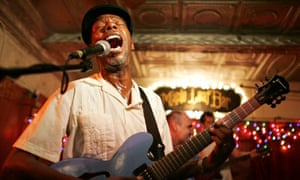 """Walter """" Wolfman"""" Jackson performs at the Maple Leaf bar in New Orleans"""
