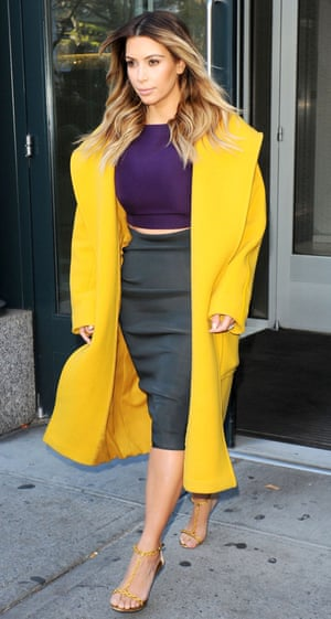 Kim Kardashian in New York, America - 20 Nov 2013, wearing Max Mara coat, Lanvin skirt