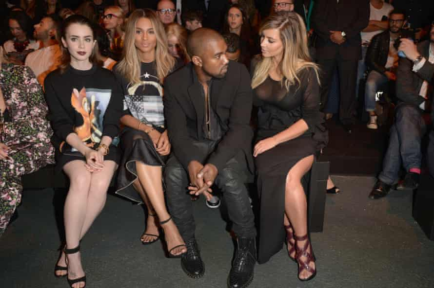 Lily Collins, Ciara, Kanye West and Kim Kardashian attend the Givenchy show as part of the Paris Fashion Week Womenswear Spring/Summer 2014 on September 29, 2013