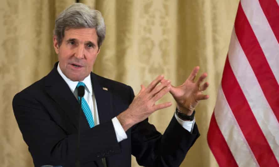 John Kerry holds a news conference at the US embassy in Paris after meeting his Russian counterpart Sergei Lavrov.