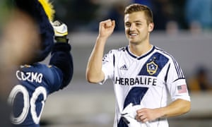 Robbie Rogers and LA Galaxy mascot Cozmo are pumped for a new MLS season.