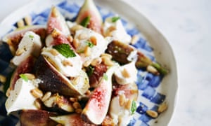 fresh figs with labneh, pine nuts and mint