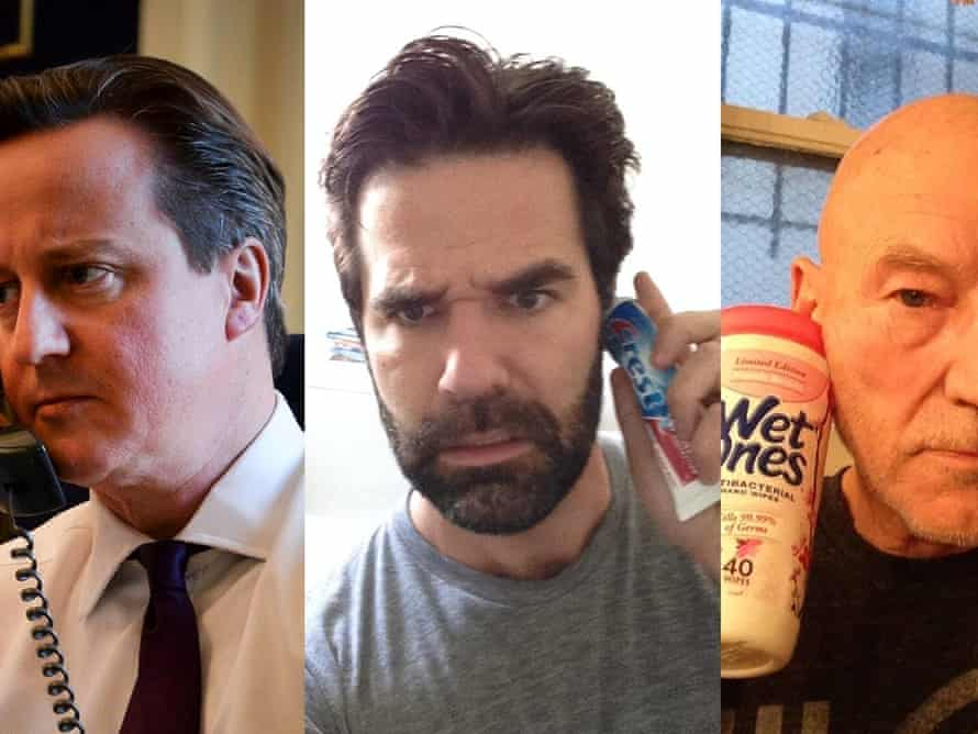 David Cameron, Rob Delaney and Patrick Stewart on a 'conference call'