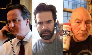 David Cameron, Rob Delaney and Patrick Stewart on a 'conference call' with Barack Obama