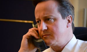 The photo that started it all. Cameron on the phone to Obama.