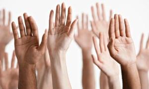 raised hands business consultation