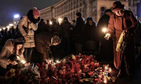 A makeshift memorial in Independence square Kiev