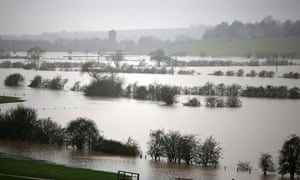 Fields are flooded near Tewkesbury at the confluence of the River Severn and the River Avon