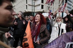 Teachers and municipal workers take part in a rally against austerity measures and the government policy in central Athens, Greece, 06 March 2014.