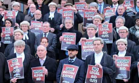 Lawyers protest outside Birmingham crown court during a walkout in January