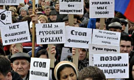 People rally in Rostov-on-Don, Russia, in support of ethnic Russians in Ukraine