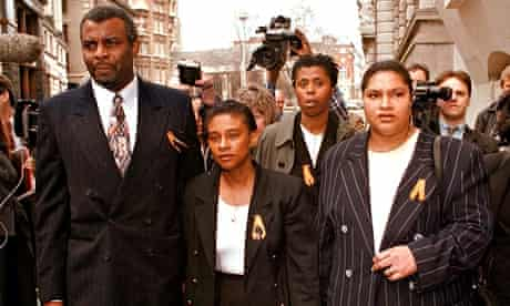 Stephen Lawrence's family outside the Old Bailey in 1997