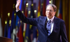 Wayne LaPierre takes the praise from the crowd.