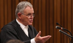 Barry Roux, the lawyer defending Oscar Pistorius, speaks during the fifth day of trial.