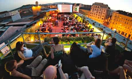 Corvinteto is a Budapest club with a huge roof terrace in a former supermarket