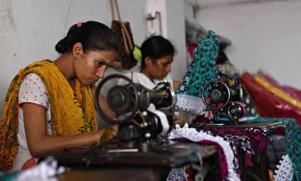 Bangladeshi local garment workers at a factory in Dhaka.