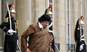 Muammar Gaddafi leaves the Elysée palace