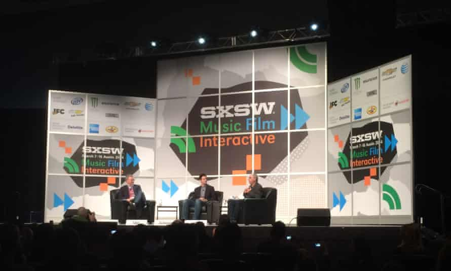 Eric Schmidt and Jared Cohen on-stage at SXSW.