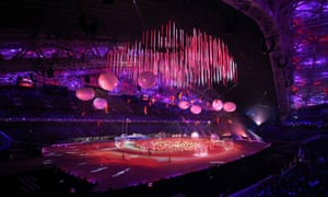 A general view of Fisht Stadium during the opening ceremony