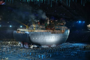An icebreaker is pulled into the stadium.