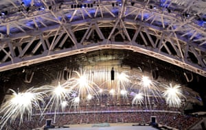 Fireworks are let off inside the Fisht Olympic Stadium at the beginning of the opening ceremony.