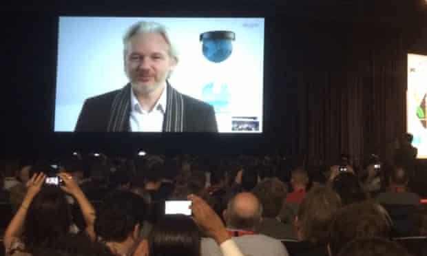 Julian Assange beamed in remotely for his SXSW interview.