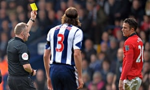 Robin van Persie, the Manchester United striker, could have been sent off at West Bromwich Albion
