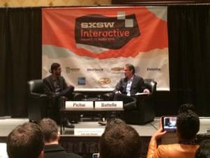 Sundar Pichai and John Battelle on-stage at SXSW.