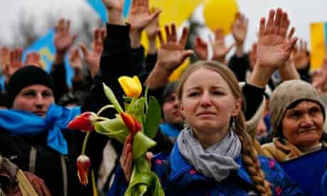 Pro-Ukrainian supporters in Simferopol