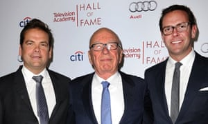 Rupert Murdoch with his sons Lachlan, left, and James.