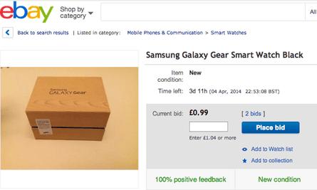 eBay listing for Samsung Galaxy Gear watch