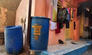 Typical big blue drums in Dharavi