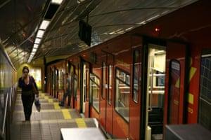 The underground funicular railway, the Carmelit, in Haifa.