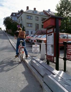 The sykkelheisen Trampe bicycle lift in Trondheim, Norway.