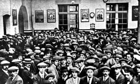 Men waiting to enlist