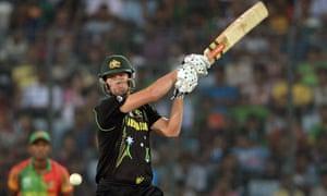 Australia's Cameron White flays one during Australia's win.