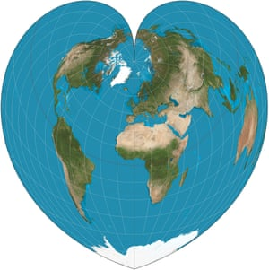 Why google maps gets africa wrong world news the guardian heart shaped globe gumiabroncs Choice Image