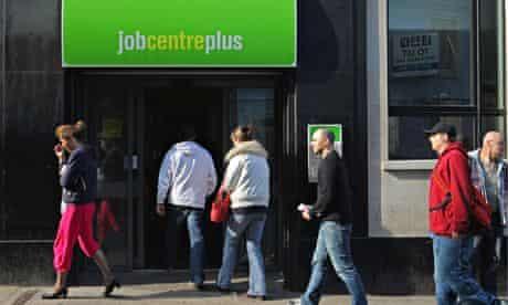 Job seekers at a job centre