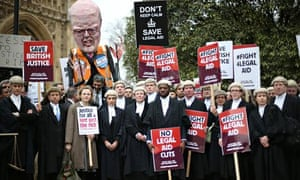Lawyers during a walkout over legal aid cuts last week.