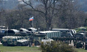 Russian troops and vehicles near the Crimean city of Simferopol