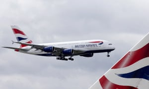 (FILES) In a file picture taken on July 4, 2013 a British Airways Airbus A380 lands at Heathrow Airport in London. International Airlines Group rebounded into net profit in 2013, boosted by a strong performance from British Airways and Spanish budget carrier Vueling, it said on February 28, 2014. AFP PHOTO/JUSTIN TALLISJUSTIN TALLIS/AFP/Getty Images