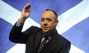 Scotland's first minister Alex Salmond in front of the Scottish flag