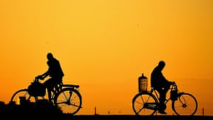 'This picture is taken in the vaigai river foot bridge in Madurai City on a evening. The bridge is mostly used by pedestrians, cyclists, motorcycles and small vehicles. Mostly the bridge is used by daily wage earners.'