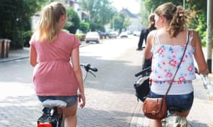 Keeping active: two cyclists in the Netherlands.
