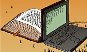 An illustration of a laptop up against a weighty book