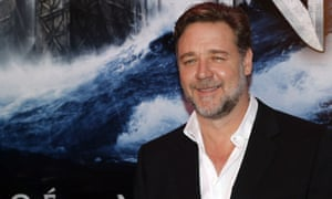 Russell Crowe poses before a screening of his new film Noah
